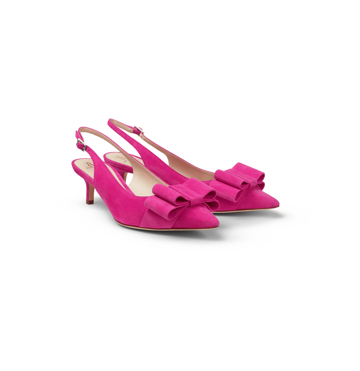 Hot Pink Suede Slingback Pumps with Bow