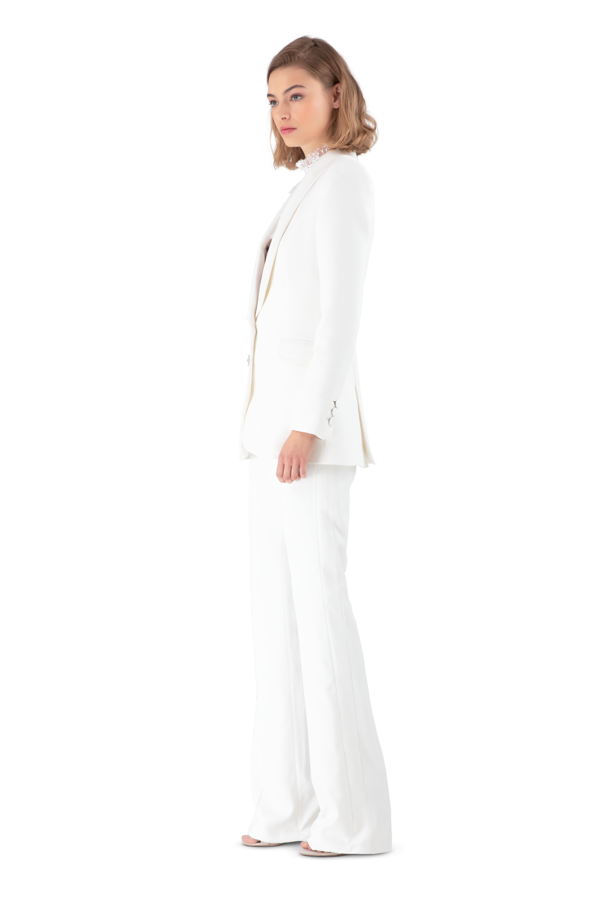 White Satin Crepe Tailored Blazer