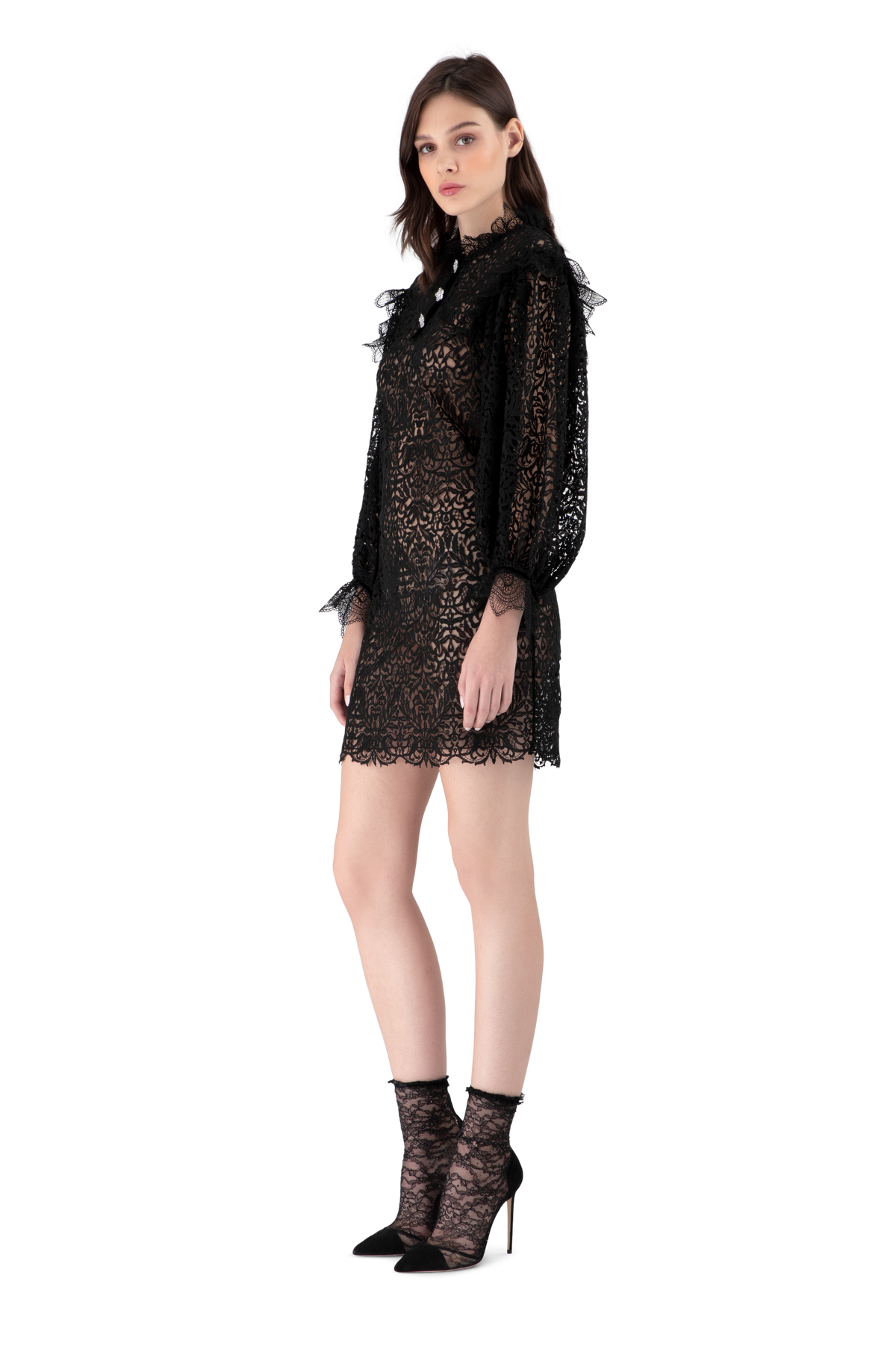 Black Guipure Lace Mini Dress