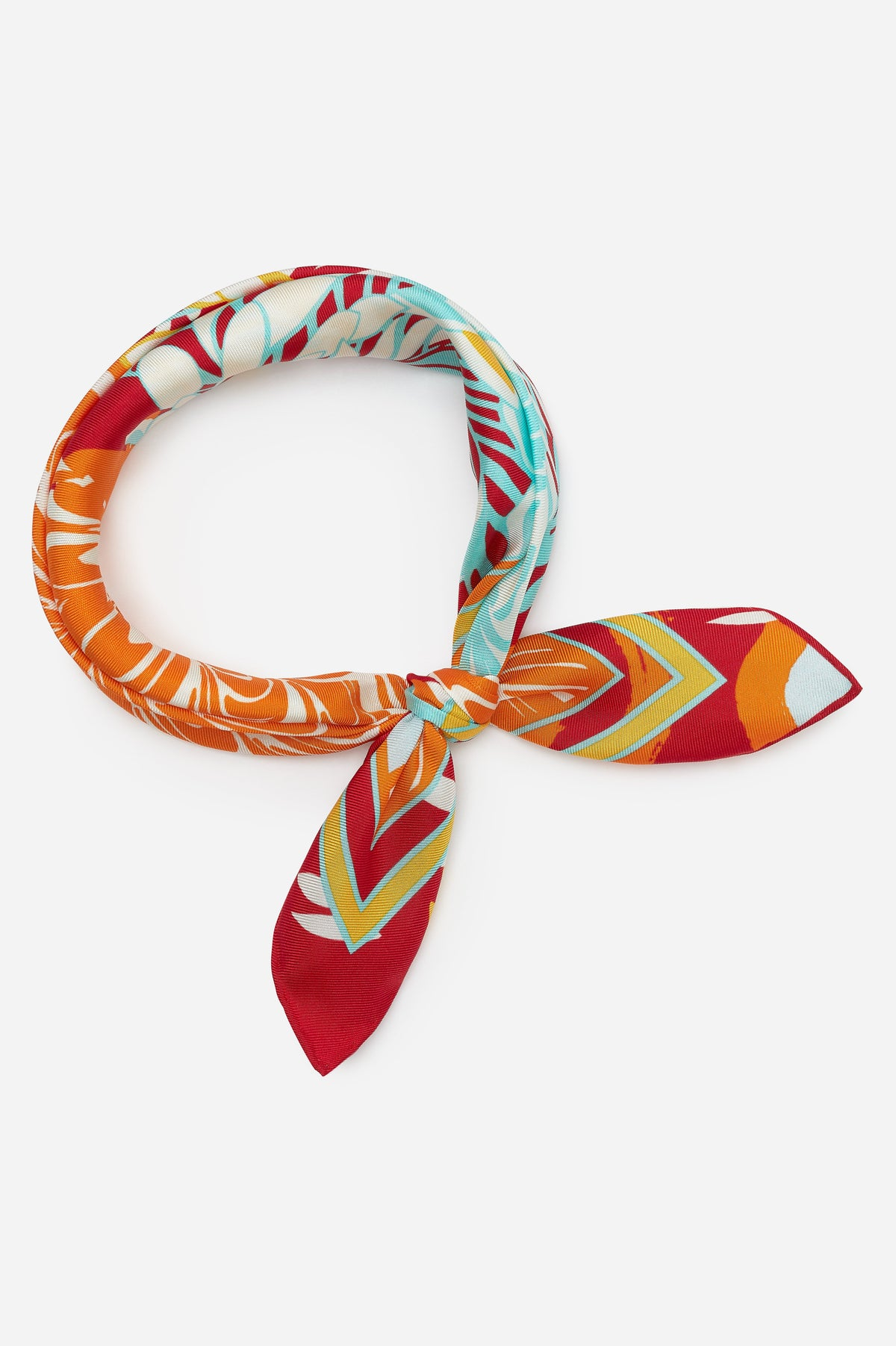 Orange Psychedelic Silk Pochette Scarf