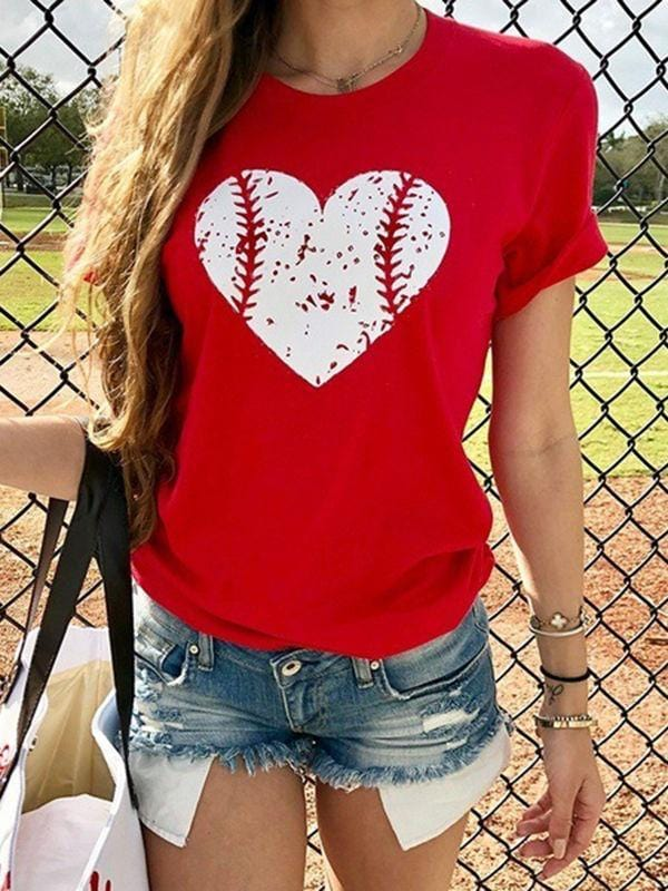 Heart Design Baseball T-shirts