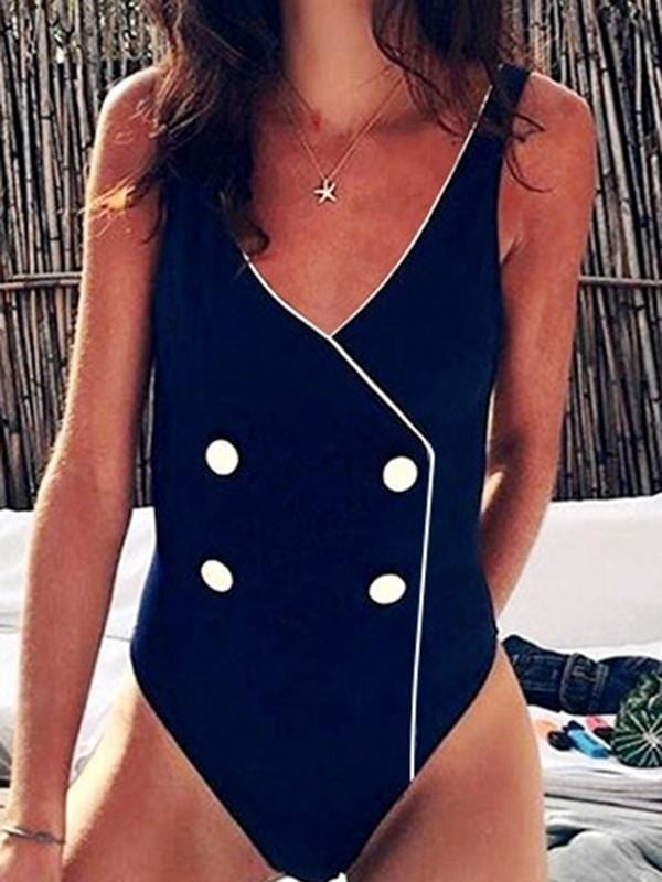 Splicing Button One-Piece Swimsuit