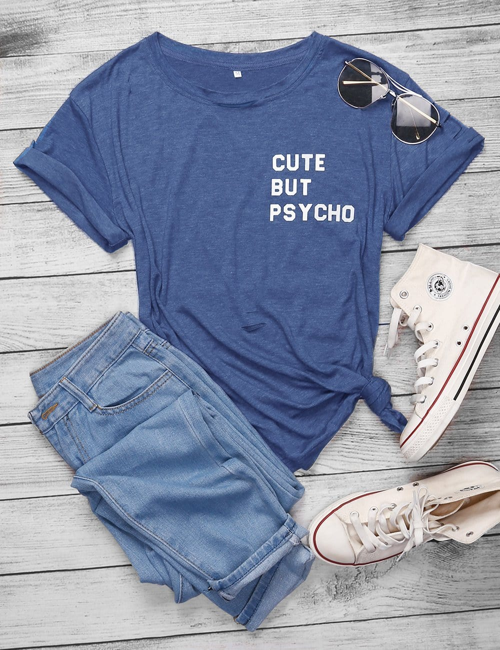Cute But Psycho Shredded  Graphic T-shirts