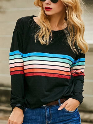 Rainbow Striped Casual O Neck T-shirt