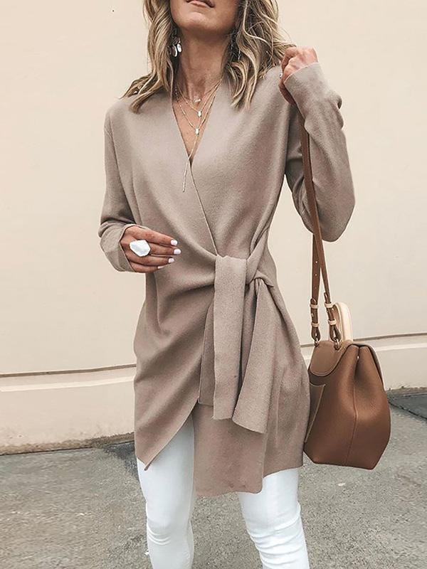 Solid Color Irregular Long Coat