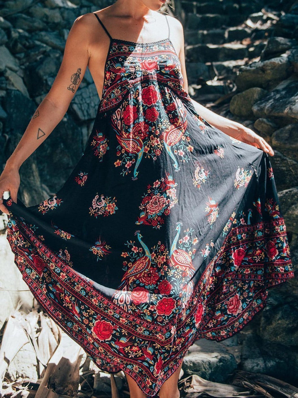 Bohemian Peacock Print Backless Dress