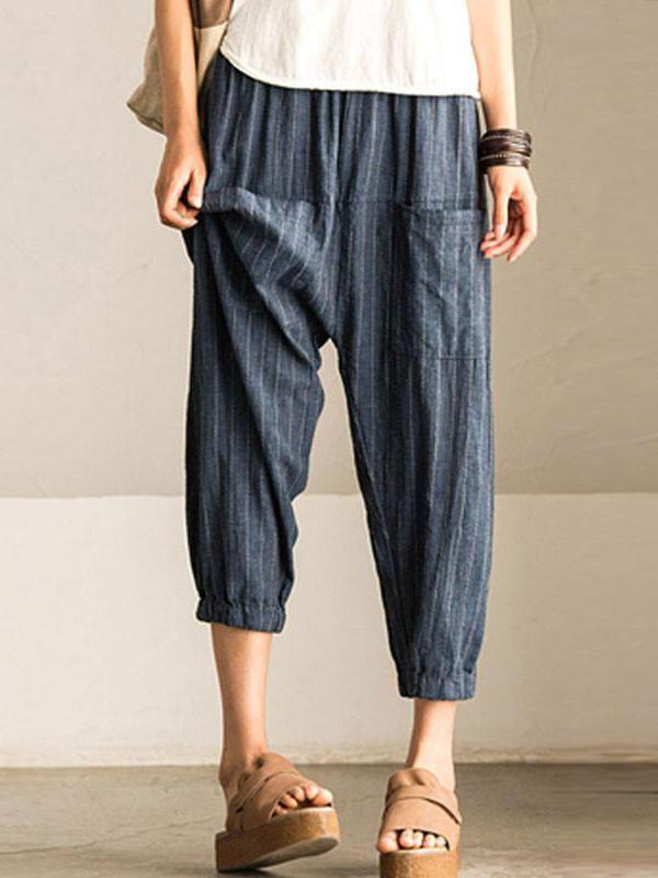 Stripe Loose  Lantern Pants