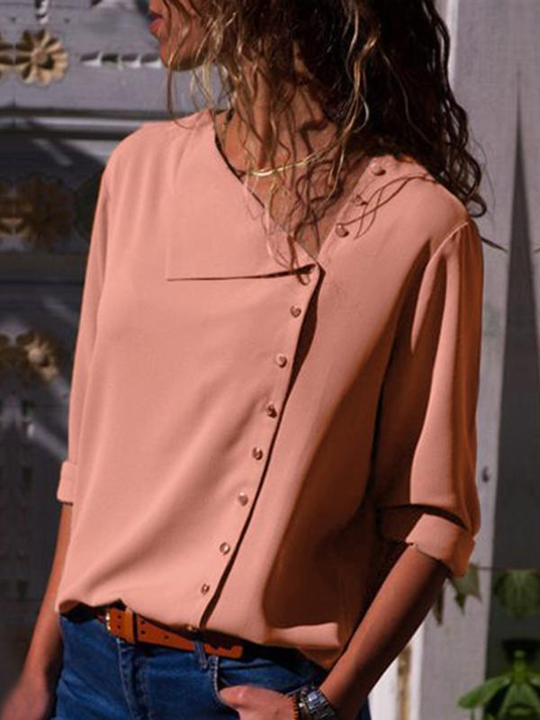 Irregular Button Collar Shirt-Blouse-stalday.com