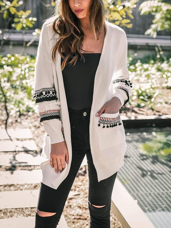 BOSTON CARDI Long Sleeve Knitted Pockets Cardigan