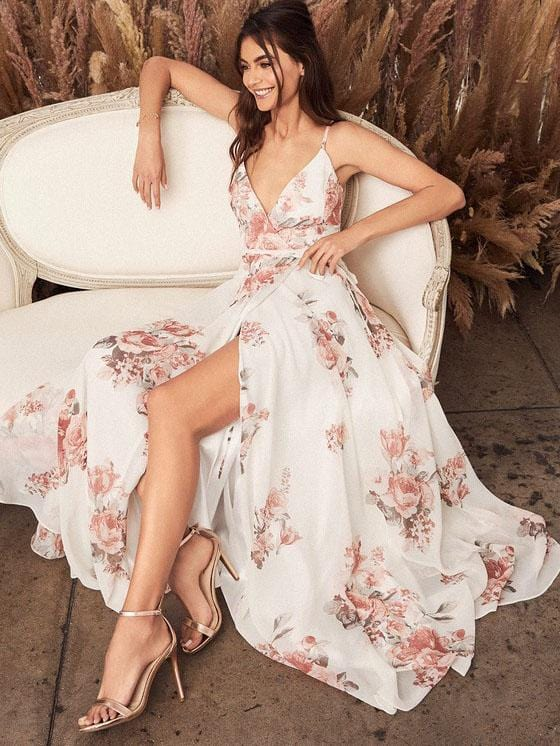 Lovely Floral Painted Wrap Maxi Dress