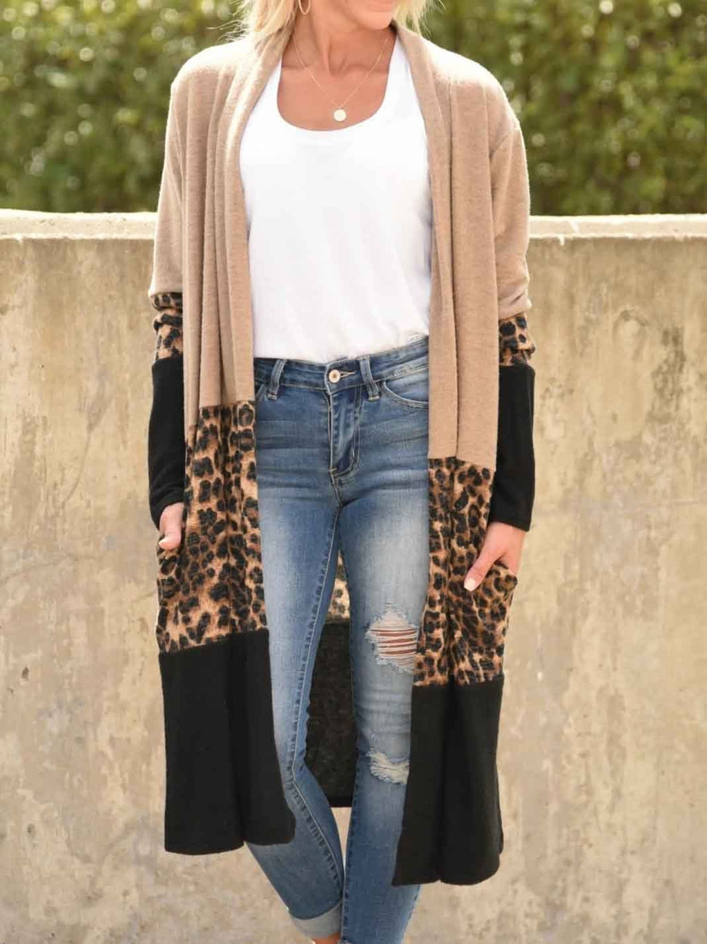 Leopard Stitching Long Sleeve Cardigan