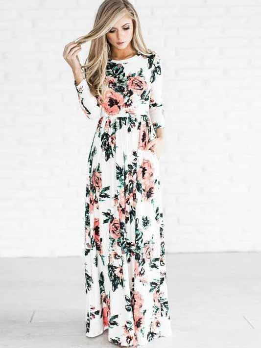 Floral Long Sleeve Printed Maxi Dress