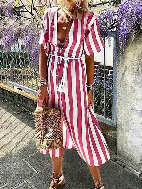 V-Neck Striped Maxi Dress