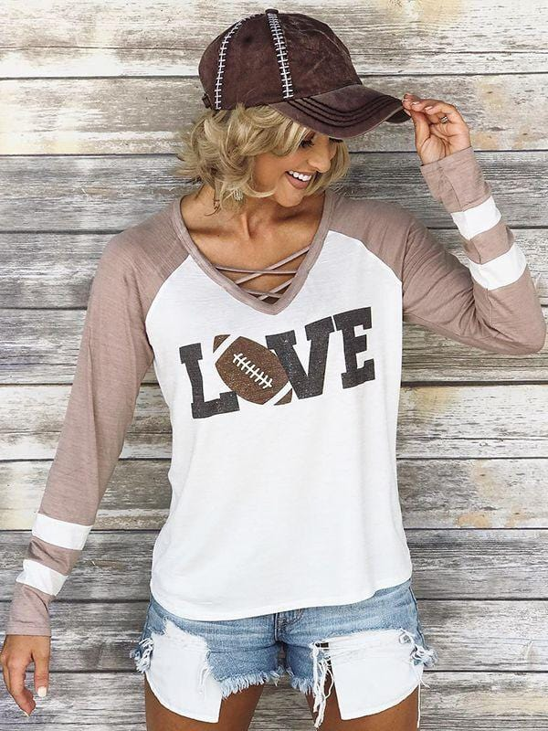 Criss-Cross Long Sleeve Football Love Color Block Top