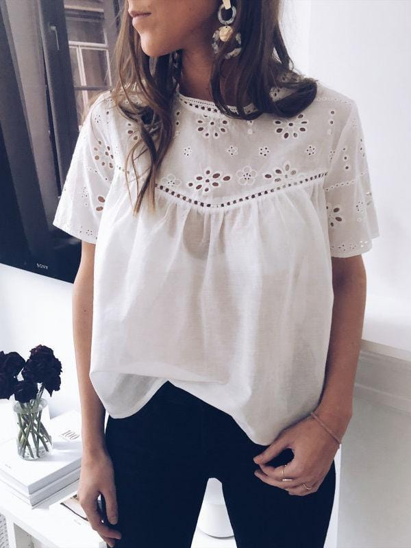 Solid Hollow Out Blouses