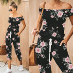New Design Floral Printed Drawstring Jumpsuits