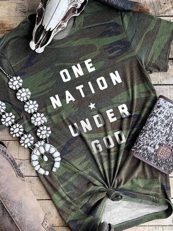 One Nation Star Under God Camo T-shirts