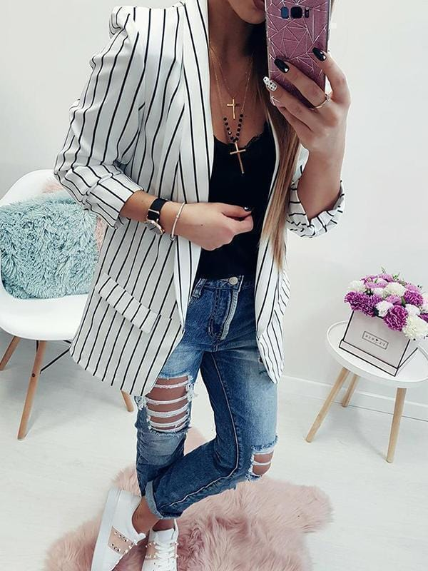 Stripe Sexy Long Sleeve Suit Top-Cardigans & Coats-stalday.com