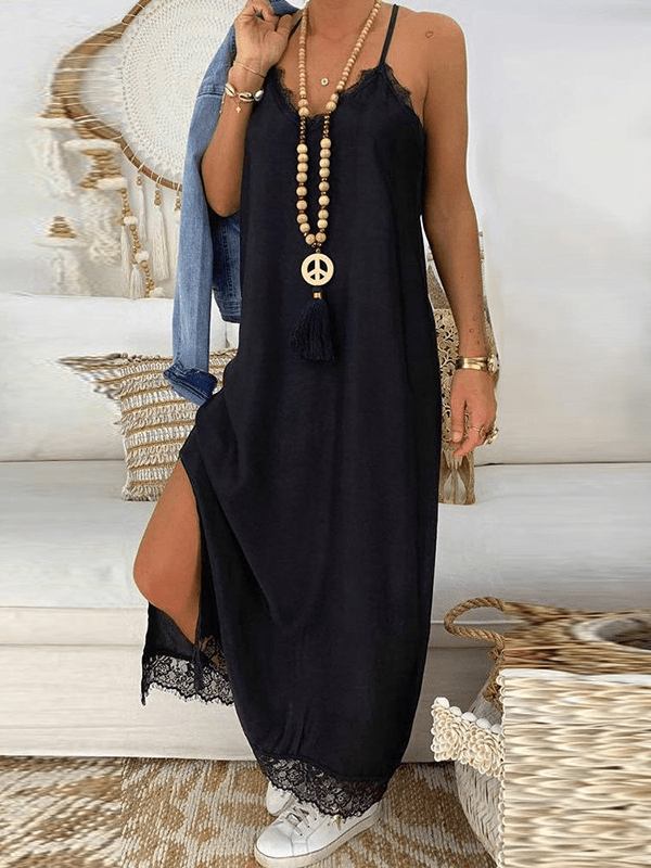 Lace Splicing Sleeveless Maxi Dress