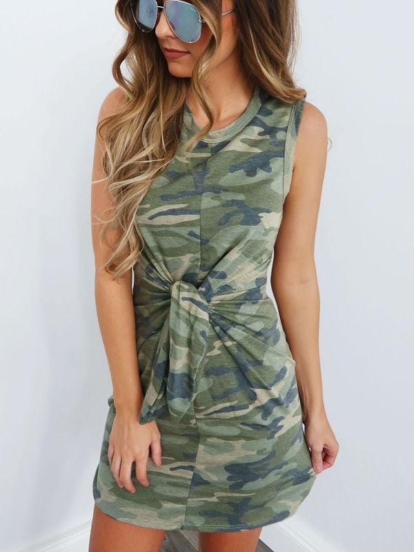 Round Neck Tie Knot Waist Camouflage Dress