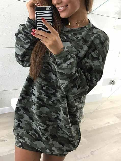 Camouflage Sweater Dress