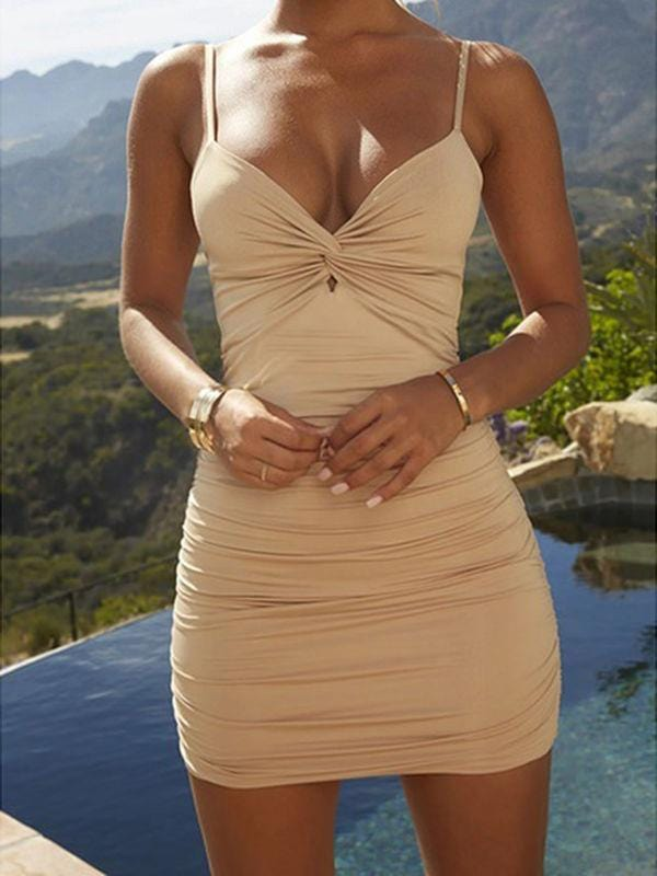 Solid Ruched Bodycon Dress