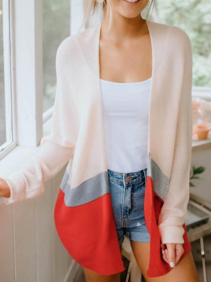 Colorblock Long Sleeve Cardigan