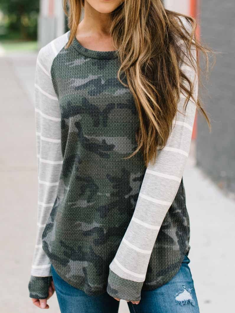Camouflage Printed Stitching Long-Sleeved T-Shirt