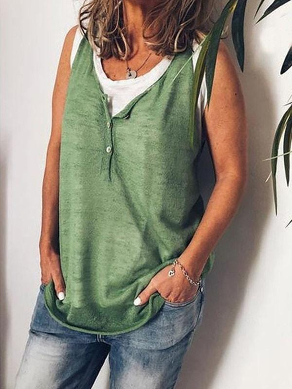 V-Neck Button Casual Tanks
