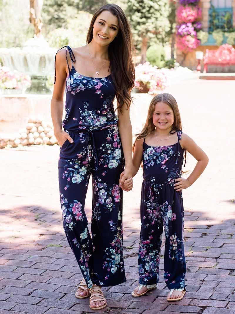 Printed Straps Parent-Child Jumpsuit