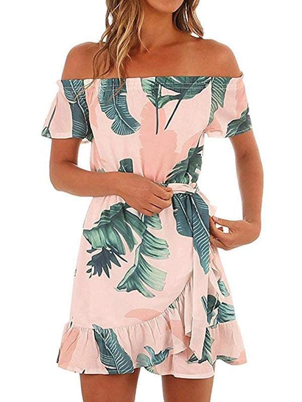 Off The Shouler Printed Dress