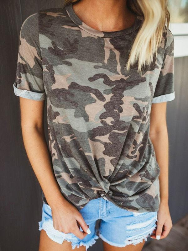Camo Twist Front T-shirts