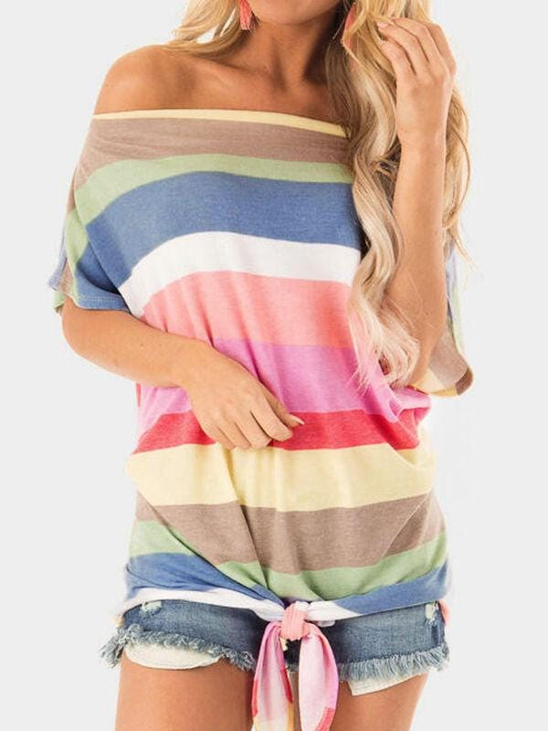 Rainbow Cold Shoulder Ties Blouses