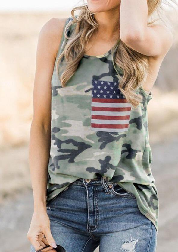 Camouflage American Flag Pocket Tank