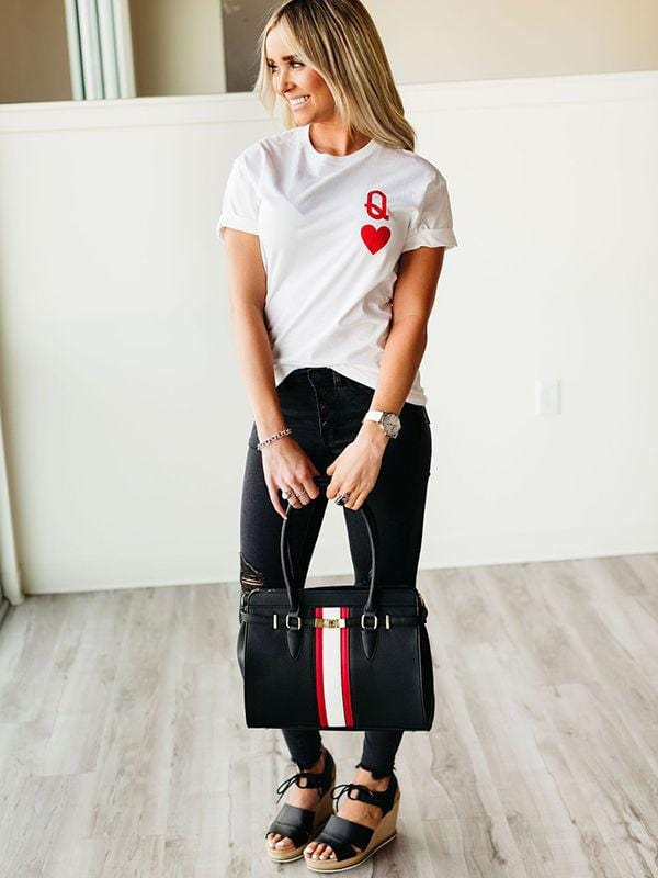 Queen Of Hearts Great White Tee