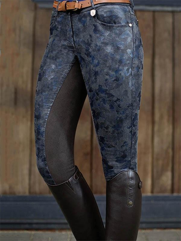 Women's Camouflage Stitching Stretch Equestrian Riding Pants
