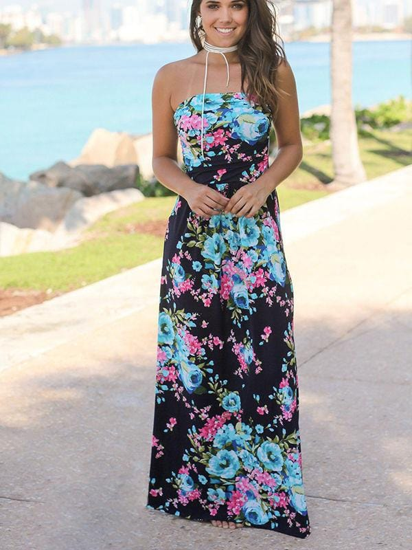 Strapless Vintage Floral Print Party Maxi Dress