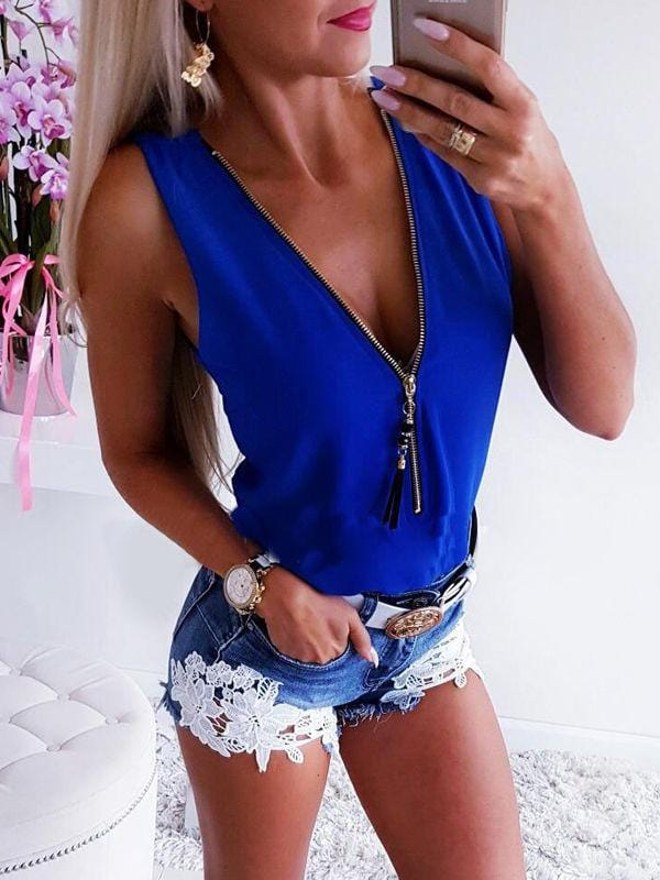 Zipper back cross-chiffon top vest