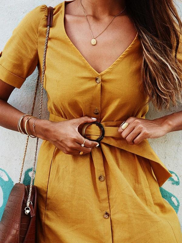 V-neck Button Dress With Belt