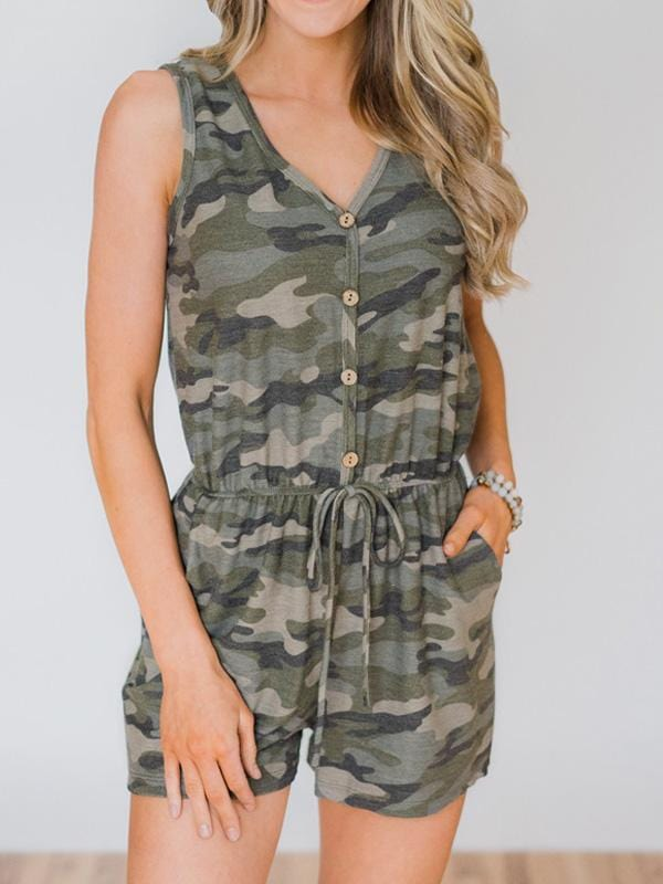 Camouflage Printed Sleeveless Waist Romper