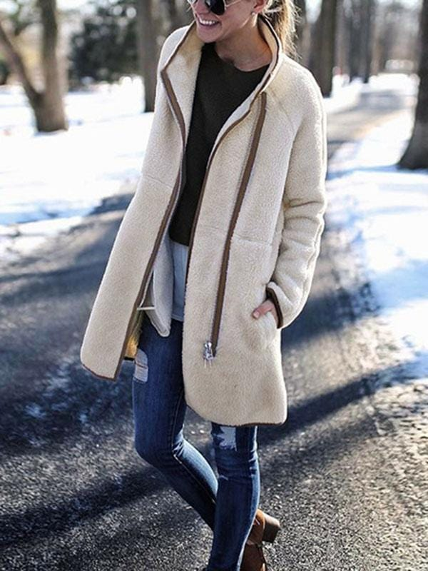 Solid Color High Collar Zipper Coat