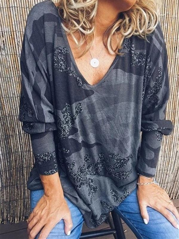 Casual Loose Camo Printed Blouses