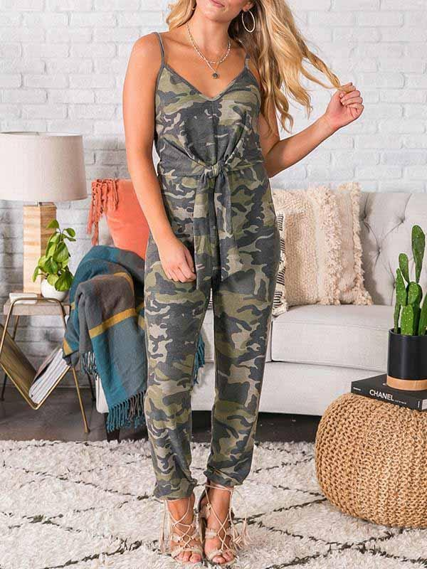 Waist Knotted Sling Camouflage Jumpsuit