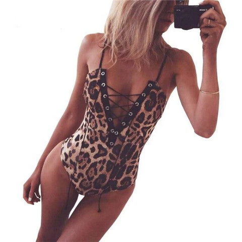 Bodysuit With Leopard Print Skinny
