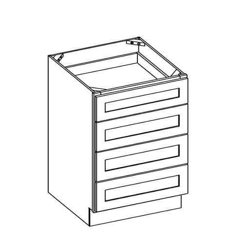 "Brilliant White Shaker 15"" 4-Drawer Base Cabinet"