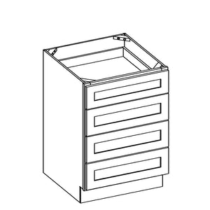 "Brilliant White Shaker 36"" 4-Drawer Base Cabinet"