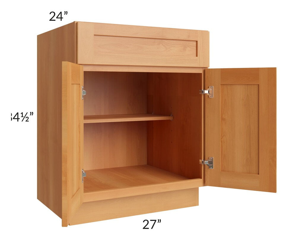 "Shaker Honey 27"" Base Cabinet"