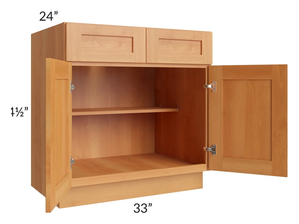 "Shaker Honey 33"" Base Cabinet"