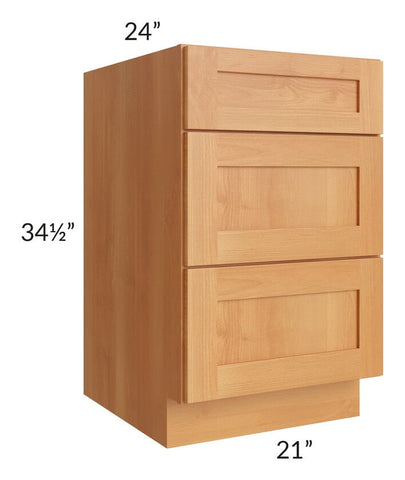 "Shaker Honey 21"" Drawer Base Cabinet"