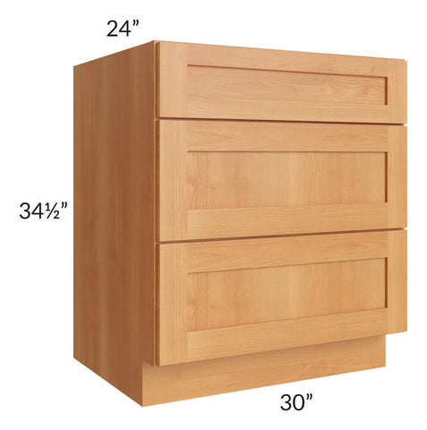 "Shaker Honey 30"" Drawer Base Cabinet"